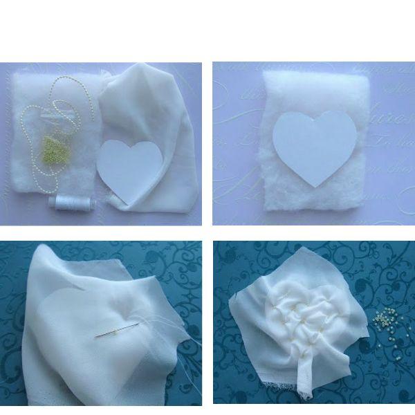 Нам понадобится: мягкая ткань желаемого цвета, картонная заготовка в виде сердца, немного бисера, наполнитель, клей, игла, нитки.