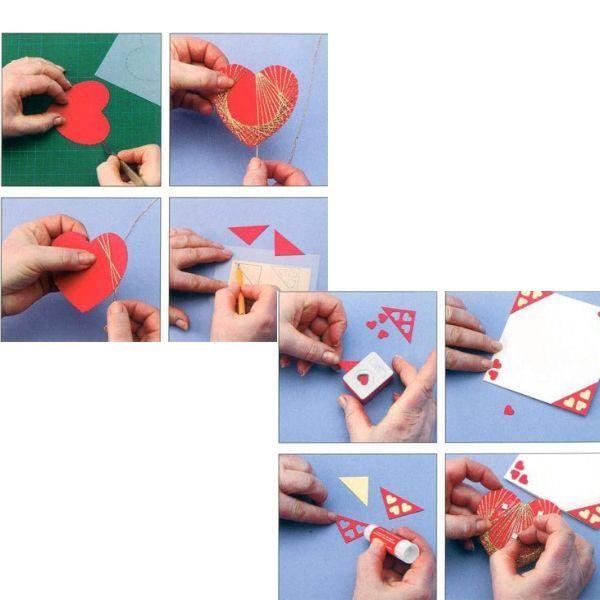 Для начала вырезаем сердечко и уголочки для открытки по шаблону. На сердечке делаем надрезы и обматываем ниткой так же, как показано на рисунке. Затем делаем уголочки.
