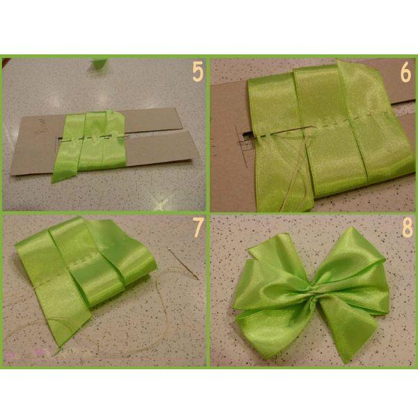 Для создания бантика из ленточек нам понадобится:  •    атласная лента салатового цвета, шириной 2,5 см – длиной до 1 м; •    атласная лента бежевого цвета, шириной 0,8 см – длиной до 1 м; •    атласная лента салатового цвета для розочек, шириной 0,8 см – длиной 0,5 м; •    резинки, нитки, иголка; •    картонный шаблон, шириной 8 см и 6 см.