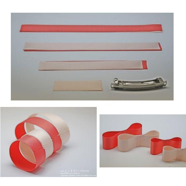 Для работы понадобятся атласные ленты двух цветов, шириной 25 мм, проволока и скотч. Расход: 2 шт - 26 см, 2 шт - 23 см,  2 шт - 16 см, 1 отрезок - 7 см.