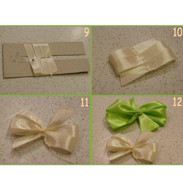 Срезать край ленты (2,5 см)  наискосок и заложить на шаблоне, шириной 8 см, так, чтобы с каждого края был один срез и 2 сгиба ленты.