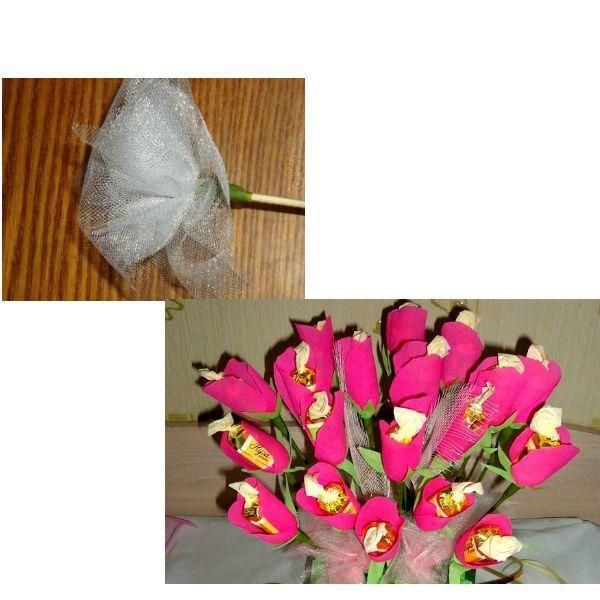 Еще для украшения букета, по такому же принципу, можно сделать вспомогательный материал из фатина. Для размещения и крепления цветков в вазоне использовали пенопласт, который спрятали под гофрированной бумагой.