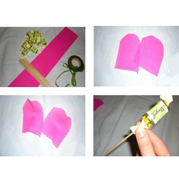 Из бумаги вырезаем лепестки будущего цветка. Затем растягиваем середину лепестка. Конфету фиксируем на палочке для барбекю, обернув хвостиком фанта край черенка.