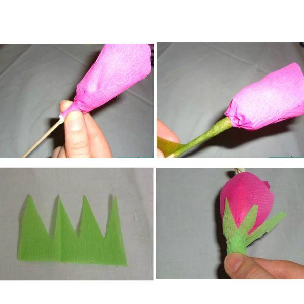 Лепестками оборачиваем конфету и фиксируем их на черенке с помощью флористической ленты. Также можно вырезать из гофрированной бумаги зеленого цвета листики и тоже зафиксировать их на цветке с помощью флористической ленты.
