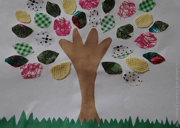 Делаем вместе с ребенком аппликацию дерева из ткани и цветной бумаги