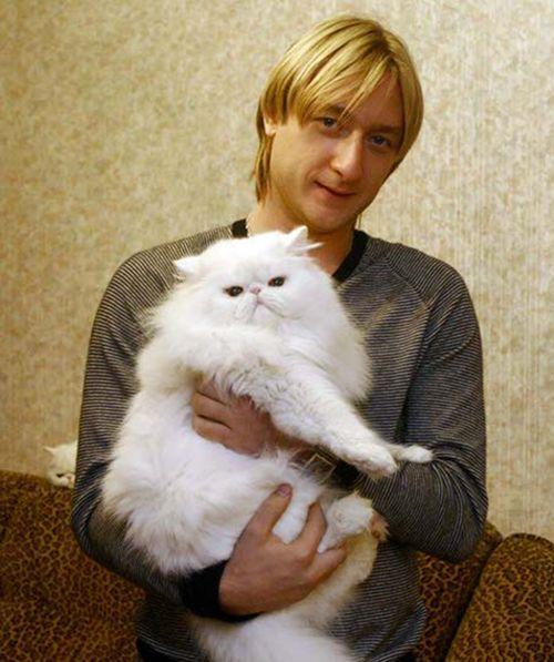Евгений Плющенко, российский фигурист, и его кот Пухлик.