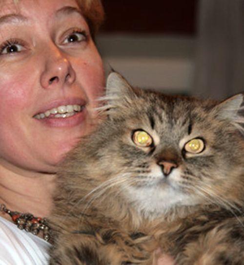 У Арины Шараповой, известной телеведущей, помимо кошки Аси абиссинской породы, есть кот Василий. Это натуральный сибиряк, с большим количеством шерсти. Его можно увидеть на фото.