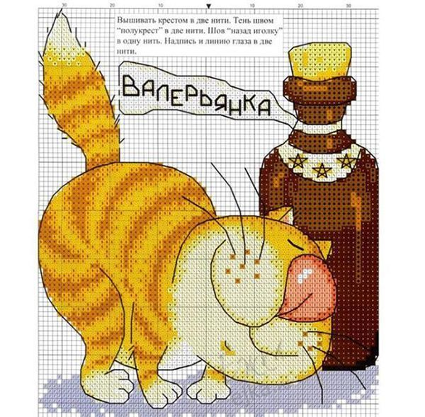 26 схем вышивки с кошками