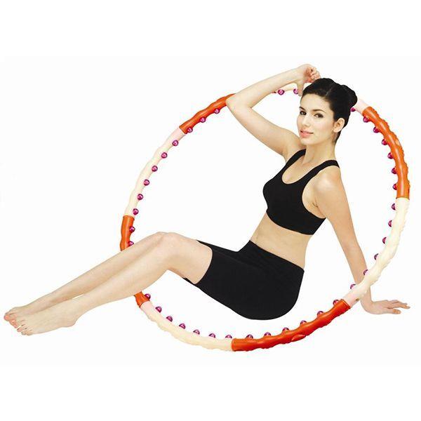 Массажный обруч для похудения. Другими словами хулахуп с массажными элементами. Прорабатывает все мышцы корпуса. Он может помочь в избавлении от лишних килограммов на талии. С его помощью можно скорректировать осанку.