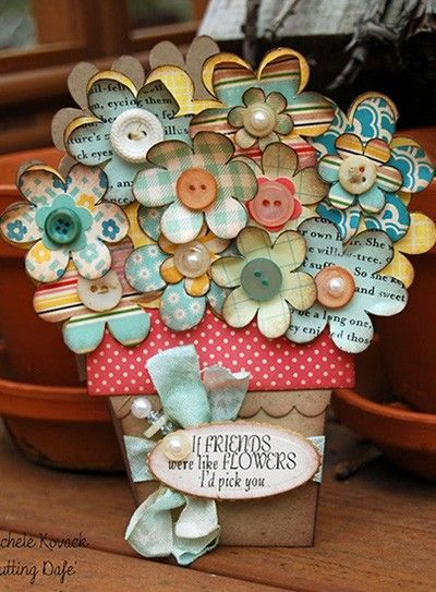 Открытка горшок с цветами своими руками из бумаги