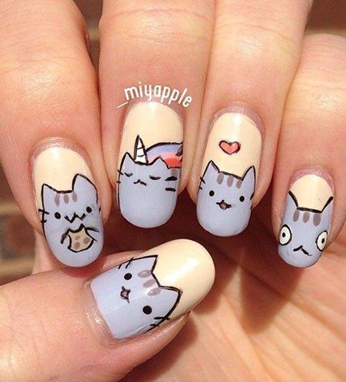 Идеи маникюра с котиками