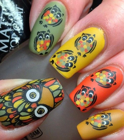 Варианты маникюра с совами