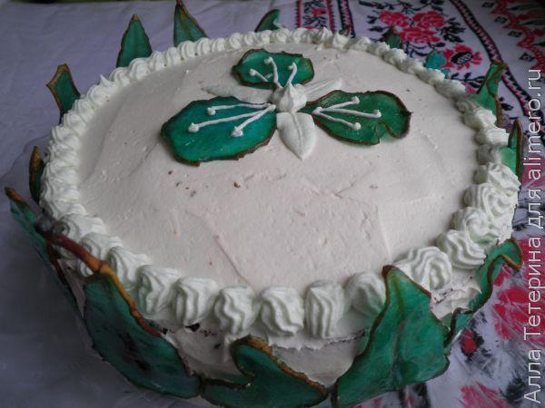 Торт с кремом Пломбир и стеклянными грушами