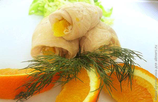 Куриное филе, фаршированное апельсинами