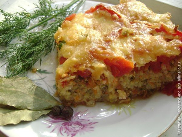 Рисово–овощная запеканка с сыром