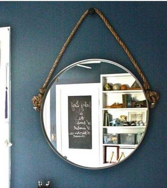 Для тех, кто умеет орудовать инструментами, возможен вариант использования джута для подвешивания зеркала.