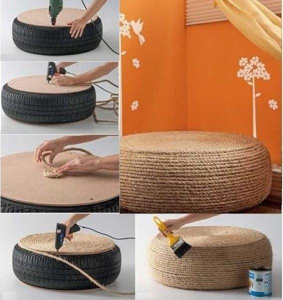 Смело и красиво смотрится декорированная сидушка из шины и веревки.