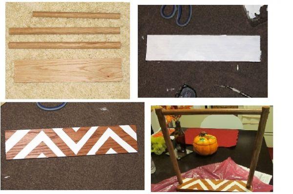 Для изготовления этой подставки понадобится чуть больше материалов: деревянная основа, брус и краска.