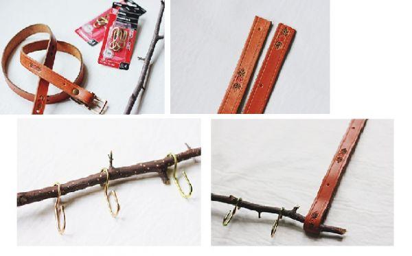 Для его изготовления понадобиться старый тонкий ремень, ветка и несколько крючков.