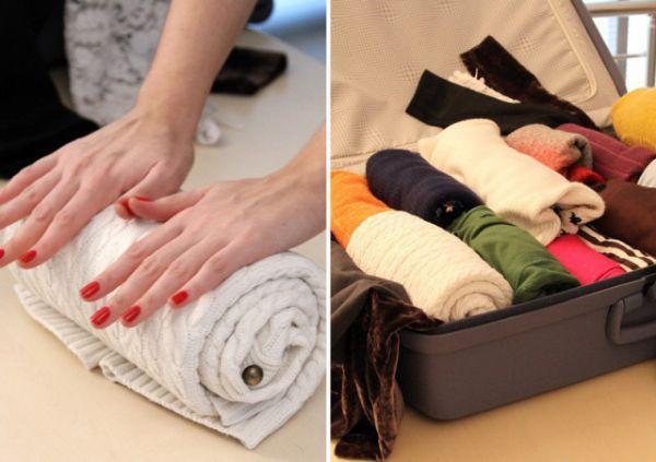 Чтобы одежда не помялась, не складывайте ее, а скручивайте валиком.