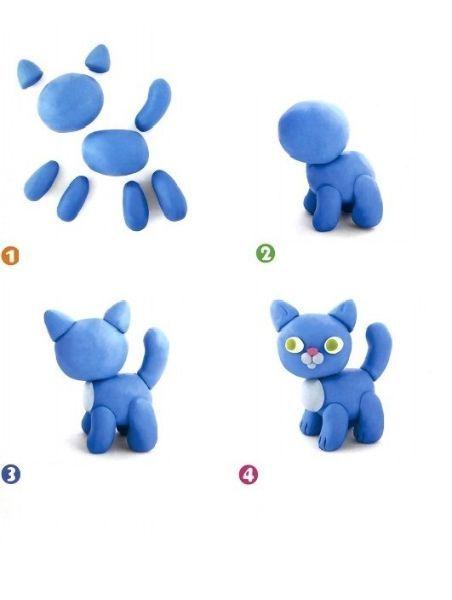Кошечка – символ уюта и тепла. И ее очень просто слепить: два шарика для тельца и головы, пять конусовидных фрагментов для ножек и хвостика, два маленьких треугольника для ушек, и очаровательная кошечка готова.