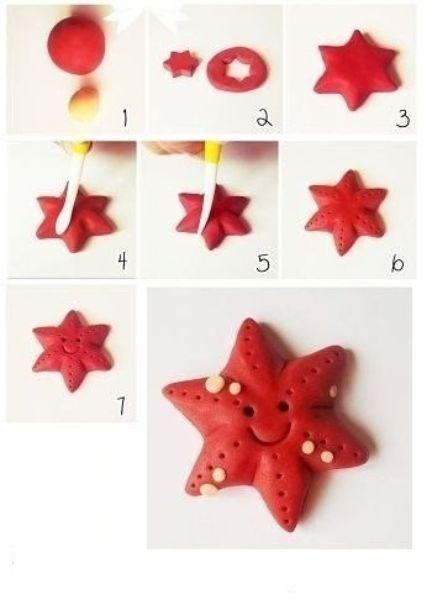 Слепить морскую звезду по силам каждому. Сформировав из кружка пластилина красного цвета кружек, аккуратно вырежьте из него шестиугольную звезду. После этого останется сделать на ней углубления под глазки, ротик и прочие элементы.