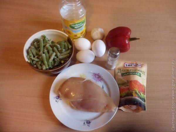 Салат «Мозаика» с курицей и сладким перцем