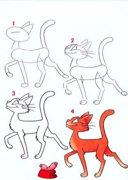 Над кошечкой тоже придется потрудиться. Голова, тельце, лапки – все имеет различную форму и требует наработки навыков рисования.