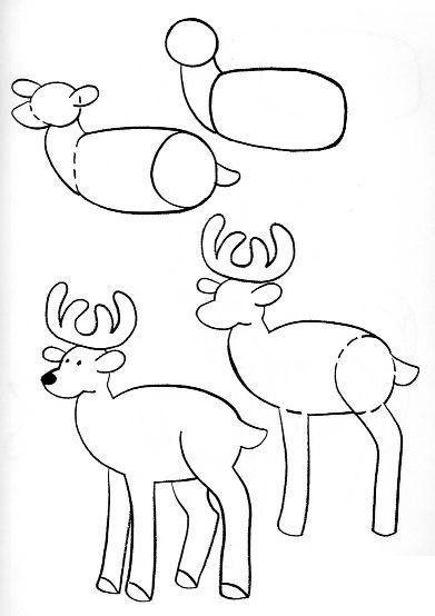 Олень – очень грациозное животное. Нарисовать его также совсем не сложно. Главное начать с овала для тела, круга для головы и плавного соединения между ними.