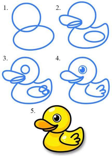 Рисование уточки тоже начинается двух окружностей. И лишь потом ей дорисовывают клювик, крылья и глазки.