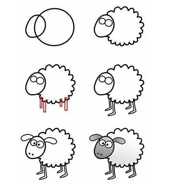 Оказывается, нарисовать овечку вовсе не сложно, если начать ее изображать с двух окружностей.