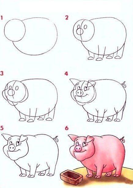 Очаровательная свинка, не так ли? И как просто ее оживить на бумаге, прорисовывая линии шаг за шагом.