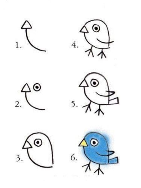 Нарисовать такую птичку очень легко, если начать рисование с маленького треугольника (клюва) и дуги.