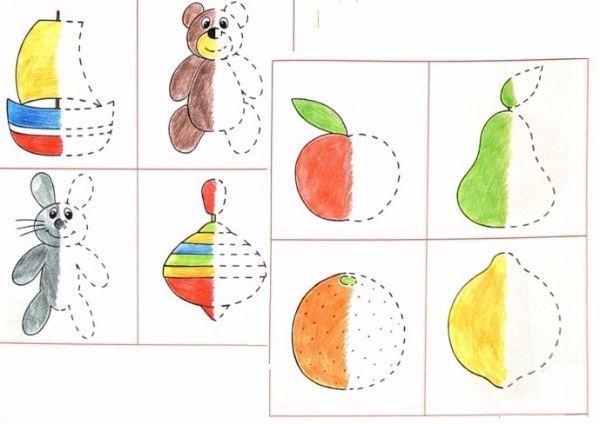 Закончи/дополни рисунок. Заранее готовим заготовки, где рисуем верхнюю половину рисунка, ребенок дорисовывает нижнюю, заготовки, на которых предлагаем ребенку добавить детали и т.д.