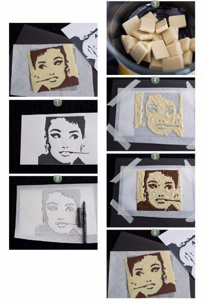13.Портрет из шоколада. На упрощенный, с помощью программного обеспечения, портрет накладывается клеенка. Аккуратно наносится расплавленный на водяной бане белый шоколад на светлые обрасти изображения. Закончив, отправляем данный рисунок для застывания в холодильник. Затем на всю поверхность рисунка наносим темный шоколад и снова отправляем наше творение в холодильник. Переворачиваем рисунок и аккуратно отделяем его от клеенки.