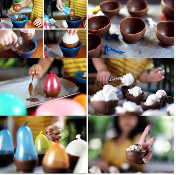 5. Шоколадная креманка. И снова нам на помощь придут воздушные шары. Окуните основание шара в шоколад и дайте ему остыть.
