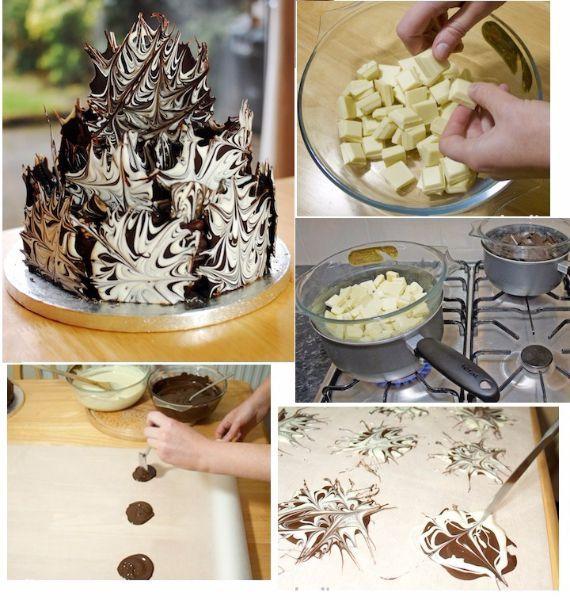 2.Черно-белые кляксы. Очень красивое украшение, которое изготавливается путем смешивания ножом двух разноцветных шоколадных клякс.