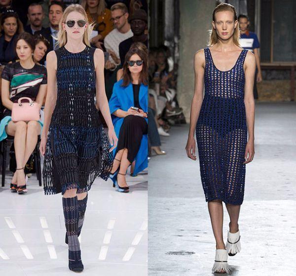 13. Сетка. Очень модно в этом сезоне надевать на голое тело платья из сетки. Некоторые бренды, однако, решили быть чуть скромнее и предложили свои варианты на непрозрачном подкладе (между прочим, не менее красивые).
