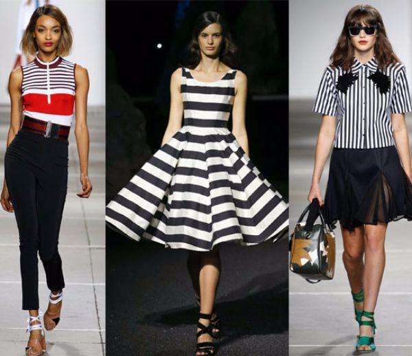 15. Модная полоска. В этом сезоне в моде буквально все вариации полосок: вертикальные, горизонтальные, тонкие, широкие, разнофактурные и т.д. Очень много дизайнеров отдали предпочтение классической черно-белой полоске.