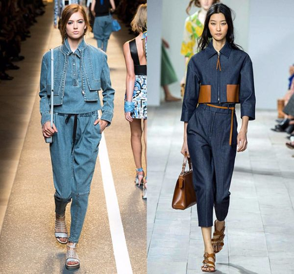 3. Джинсовые комплекты. Джинсы, джинсовые топы, блузы, куртки, комбинезоны, жакеты и жилетки. В моде все варианты одежды из денима. Причем нет никаких ограничений в декоре.  Что же касается цвета, то тут лидирует классика: голубой и синий цвета (от самых светлых, до самых темных оттенков). Это молодежный тренд, который в этом сезоне выбирают дамы всех возрастов, ведь комфорт и удобство выходят на первый план, когда речь идет об активном летнем отдыхе.