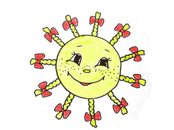 2. Солнце. Нарисовать на бумаге большой желтый круг. Затем поочередно (один штрих делает ребенок, следующий - мама или папа и т.д.) пририсовать к солнцу как можно больше лучей (от 3 лет).