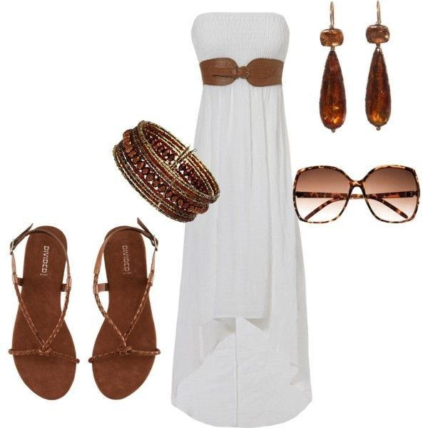 12.Белое платье. Какой цвет может быть более летним? Легкое платье можно выгодно дополнить коричневыми аксессуарами.