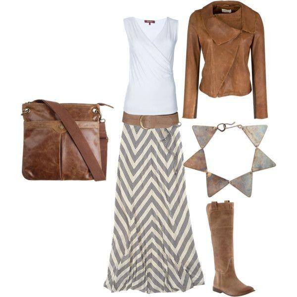 10.Кожа, замша и юбка в пол. Оптимальный наряд на прохладные летние вечера.