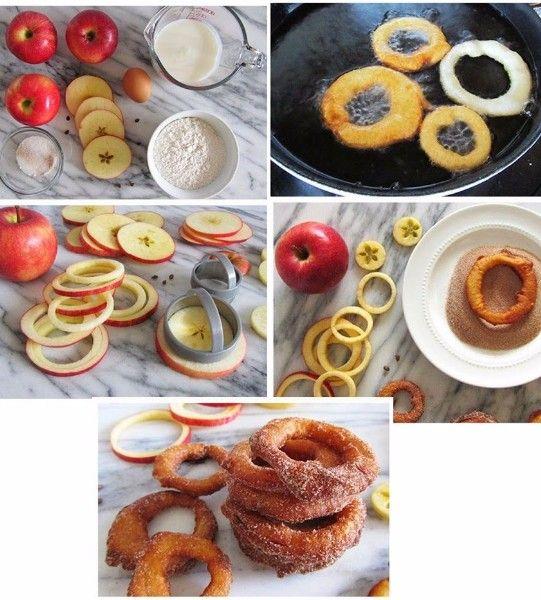 9.Яблочные кольца в кляре. Непривычный вкус, необычная подача. Отличная замена пончикам.