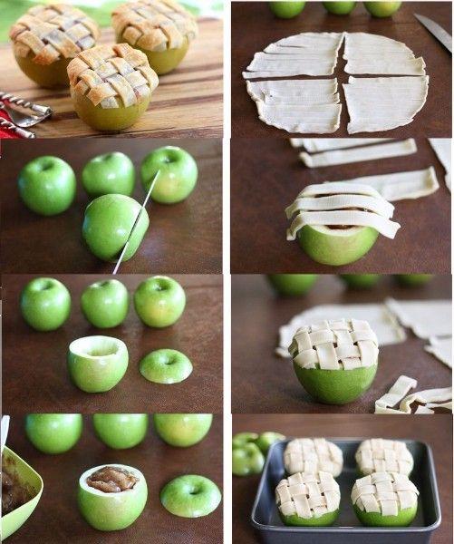 6.Как вам запеченные яблоки с карамелью под крышечкой из теста? Красиво и оригинально! Достойный десерт и максимум пользы.