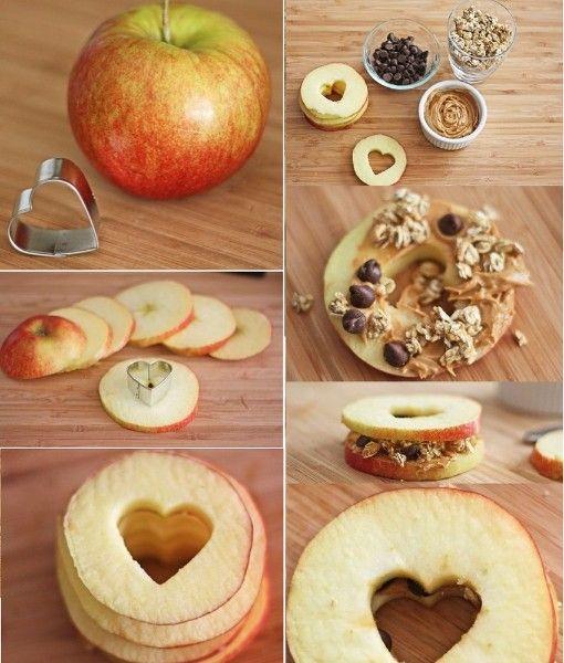 15.Яблочный сандвич. Между двух полосок яблок поместите мюсли, орешки и сухофрукты. Здоровый и сытный перекус готов!