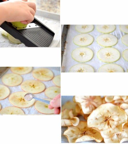 13.Яблочные чипсы. Что может быть проще? Нарежьте яблоки тонкими пластинками, взбрызните лимонным соком, притрусите корицей и сахаром и запекайте  духовке до готовности.