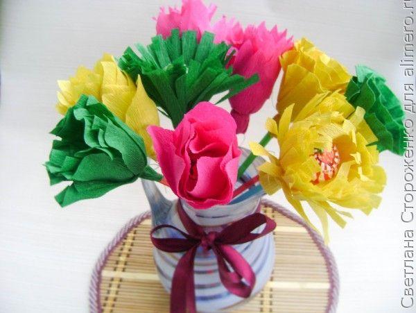 Цветы с гофробумаги фото