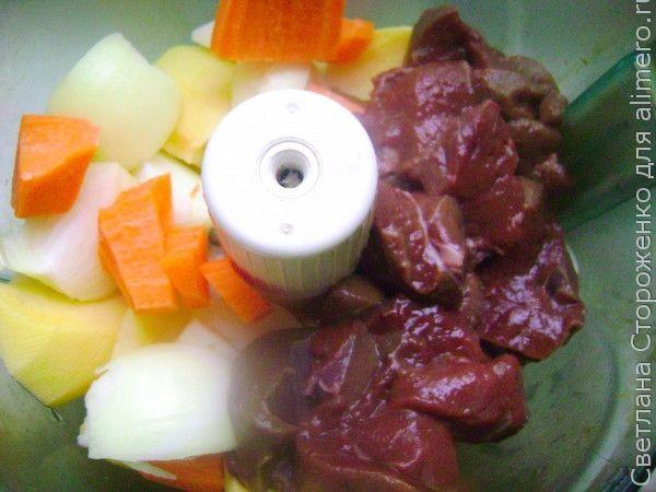 Печеночные котлеты с овощами