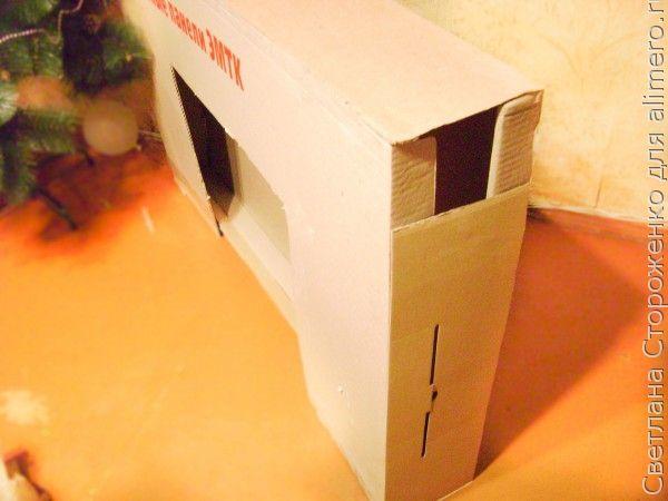 Новогодний камин из коробки своими руками